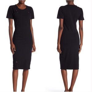 NWOT Abound Distressed Cotton Midi Dress